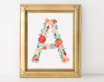 Watercolor Floral Alphabet Letter Monogram Print A B C D E F G H I J K L M N O P Q R S T U V W X Y Z