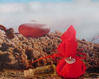 LOVE Mojo Gris Gris Bag w/ Potion Ritual Oil~ Elixir, Anointing Oil - Wicca Witchcraft Hoodoo
