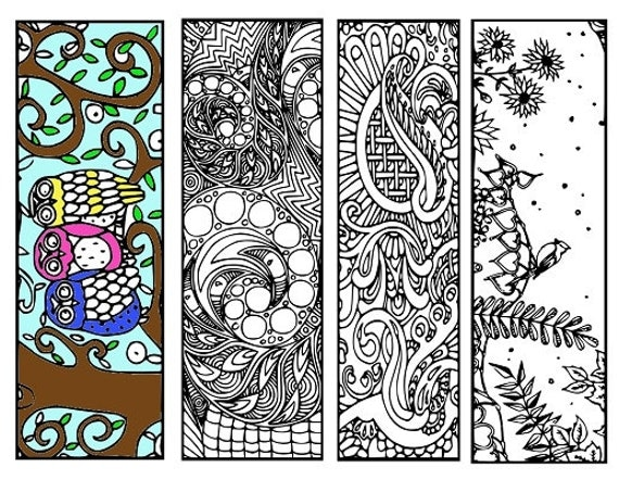 Bookmarks Coloring Printable, scaleable PDF file super quality, Instant Download. 57v.