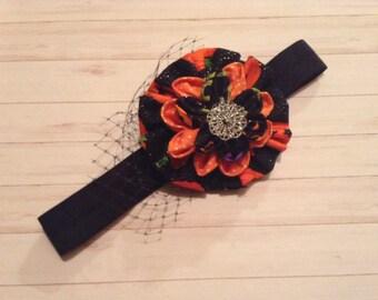 Fabric flower Black & orange headband