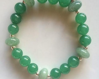 Green Aventurine Bracelet with Sterling Silver Beads