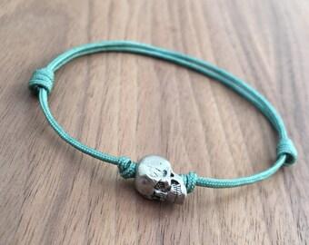 Metal Alloy Single Skull Adjustable Sliding Knot Aqua Nylon Cord Handmade Bracelet