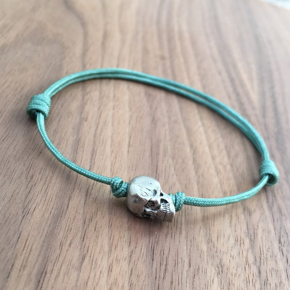 single sliding knot bracelet metal alloy single skull adjustable sliding knot by 4651