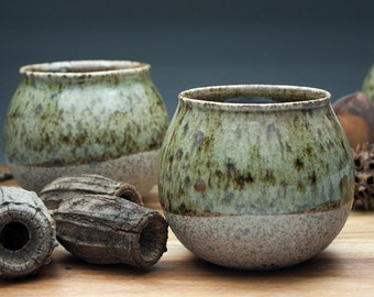 Sencha Cup, 120 mL/4 fl oz. Handmade to order. Stone-like clay & glazed finish. Japanese tea. Chinese tea. Whisky tumbler. Ceramic tea cup.