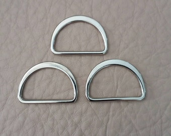 "10 Pcs, 1.25"" (inner) Metal D Ring, Silver Tone, High Quality, for Webbing Strap, Handbag Hardware,"
