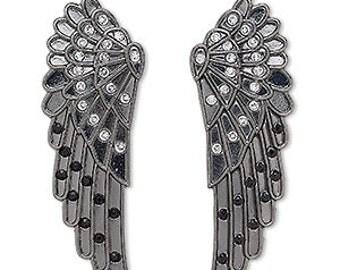 Black Wings, Gunmetal Wings, Tribal, 62x21mm, one pair, D825