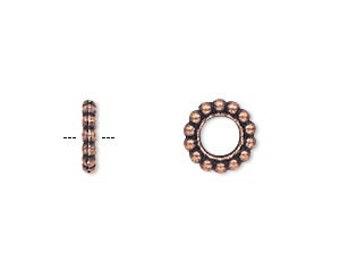 Copper Rondelle, Antiqued, Spacer Bead, 4.5mm Hole, 9x2mm Rondelle, 10 Each, D857