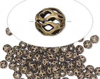 Brass Bead, Filigree, antiqued gold, Steampunk, Gypsy, Boho, 4mm cutout round, 30 each, D316