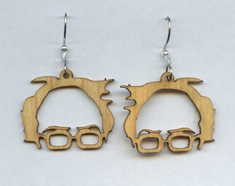 Bernie Sanders Laser Cut Maple Wood Earrings