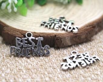 20pcs--Best friends charms, Antique Tibean silver best friends charm pendant 25x16mm D1490