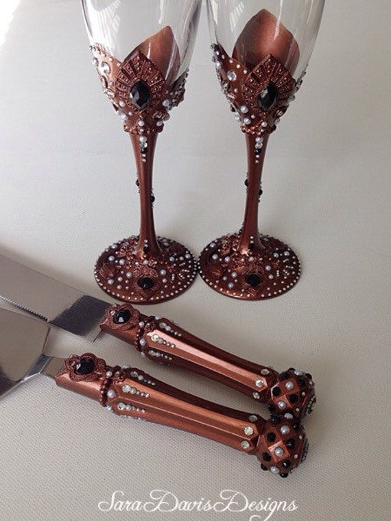 wedding cake cutters and flutes vintage style copper toasting flutes amp cake by 22313