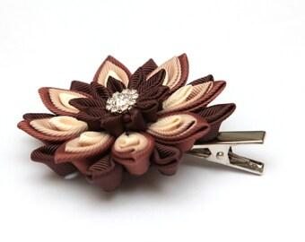 Brown, cream and beige Kanzashi  flower hair clip. Japanese hair clip. Kanzashi hair flower.  Japanese Fabric Flower Clip.