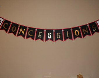 Concessions Birthday Banner, Movie Night Theme Banner, Movie Night Birthday Banner