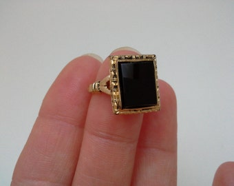 Vintage Onyx Ring, Uncas Ring, Black Onyx Ring, Black Stone Ring, Black Ring, Uncas Black Ring, Uncas Jewelry, Square Onyx, Gold Filled Onyx