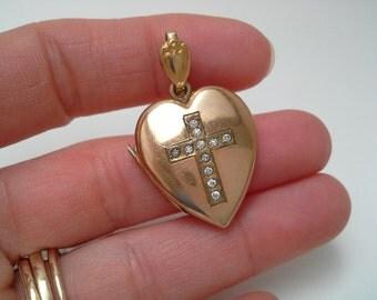 Cross Locket, Heart Locket, Vintage Locket, Sweetheart Locket, Gold Filled Locket, Bliss Brothers, Rhinestone Cross, Original Photos