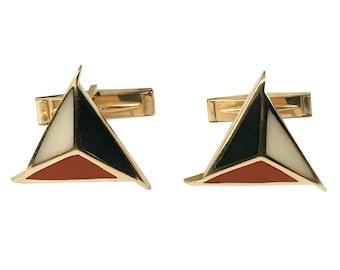 14K Gold Triangular Inlaid Hardstone Toggle Cufflinks