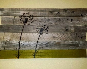 Unique pallet art, Dandelion, rustic, one of a kind