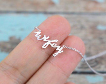 Silver Wifey Necklace, Wifey Charm Necklace, Bridal Gift, Wedding Necklace, Bridal Shower Gift,RNK-3025