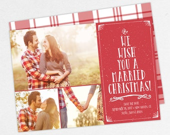 24 HOUR TURNAROUND, Christmas Save the Dates, Holiday Save the Dates, We Wish You a Married Christmas Cards, Christmas Tree Save the Dates,