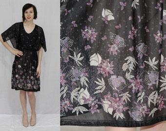 Vintage 70s Black Semi Sheer FLORAL Kimono Slv Retro Hippie BOHO Midi Dress S