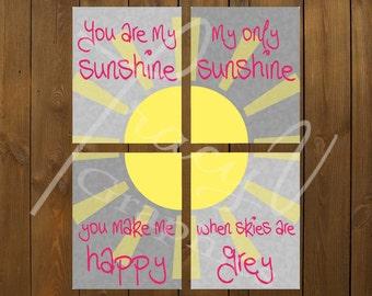 Printable Wall Art - You Are My Sunshine 4 Piece Set (8x10) (Pink)