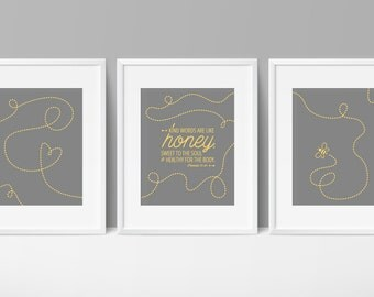 Nursery Bible Verse Art, Proverbs 16, Gray Yellow Nursery, Kind Words Are Like Honey, Bee Theme Nursery, Honey Verse, Baby Room Scripture