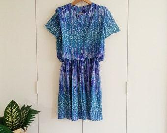 SALE! Vintage Dress - Retro Dress - Blue Dress