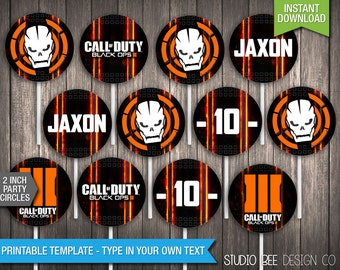 Call of Duty Black Ops 3 Party Circles -INSTANT DOWNLOAD- Printable 2 Inch Party Circles - Cupcake Toppers -DIY Personalize & Print (BOpc02)