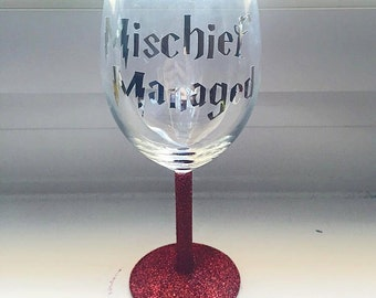 Mischief Managed Harry Potter Quote Glitter Wine Glass