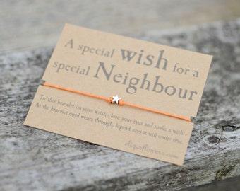 Wish Bracelet for Neighbour, Make a Wish Bracelet, Friendship Bracelet, Cord Bracelet and Gift Card.