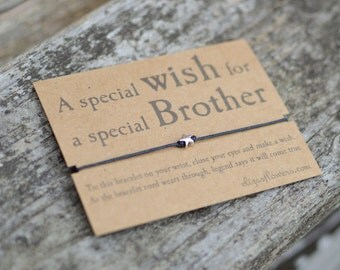 Wish Bracelet for Brother, Make a Wish Bracelet, Brother Gift, Cord Bracelet and Gift Card.
