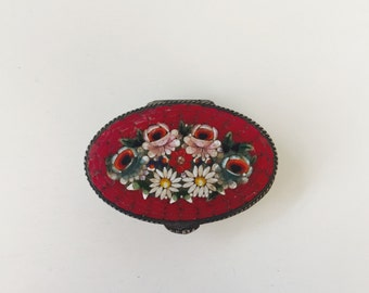Vintahe Italian Floral Tile Micro Mosaic Pill Box