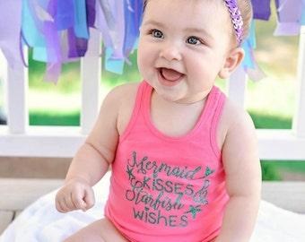 Mermaid Kisses and Starfish Wishes - Beach - Baby Tank Top - Girls' Clothing - Toddler Tanks - Racerback Tanks - Mermaids - Mermaid LIFE