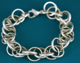 Sterling silver artisan chain link bracelet