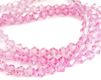 115 Pink 4mm Bicone Beads, Pink Glass Beads, 4mm Faceted Glass Beads, pink bicone beads, 4mm bicone crystals, pink faceted beads, 762