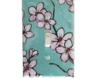 Cherry Blossom Wall Decor - Light Switch Plate - Nursery Wall Decor