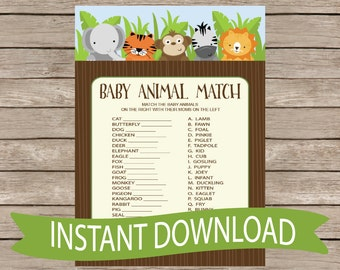 Safari Baby Shower Game Animal Match - Jungle Animals, Zoo Animals, Monkey, Giraffe Cute Activity, Neutral Printable Download B146