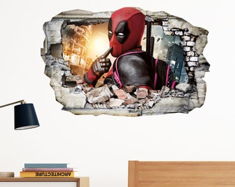Deadpool Hush in Wall Crack SuperHeroes Kids Boy Bedroom Vinyl Decal Art Sticker Gift New Large Size 300x199mm