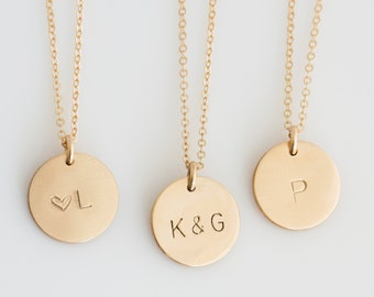 Bridesmaid Disc Necklace/ Custom Bridesmaid Gift/ Personalized Necklace/ Wedding Gift for Her/Dainty Initial Necklace/ LEILAjewelryshop/N273