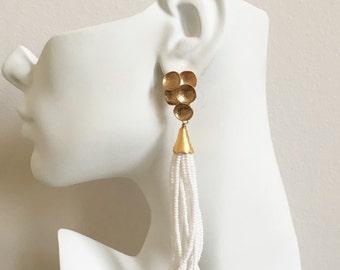 Long Beaded Tassel Earrings - White Beaded Tassel Earrings - Gold Tassel Earrings - Long Tassel Earrings - Long Statement Earrings - Fringe
