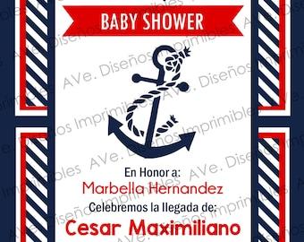 Nautical Baby Shower Invitation, Ahoy Its A Boy, Nautical Sailor Invitations Party , Anchor Invitations, SHIP'S AHOY!
