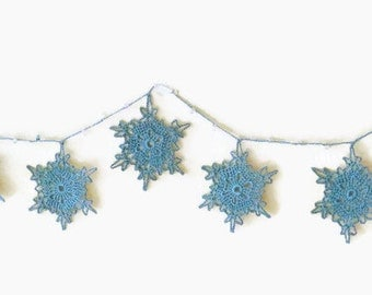 Christmas Garland, Small Snowflake Bunting, Winter Decoration, Crochet Snowflakes, Christmas Decoration, Winter Wedding Decor
