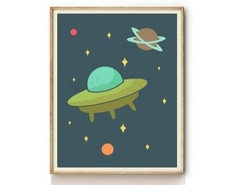 Outer Space Print for Kids . Baby Nursery Art . Children Illustration . Nursery Wall Art . Outer Space Decor . KP0026