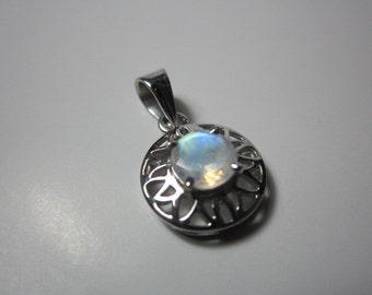 natural rainbow moonstone pendant, cut rainbow moonstone,WOOW