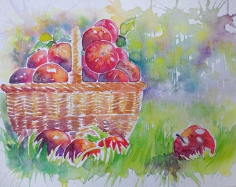Red apples in a basket - Watercolour painting -red and green