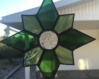 Green Star Stained Glass Suncatcher
