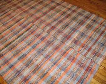 Vintage Turkish Chaput Kilim Rag Rug 6'4''x10'3'' Flatweave