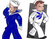 """Instant PDF Download Vintage Alice Brooks Sewing Pattern to make A Jointed Sailor Doll with Outfit An 11"""" Stuffed Plush Soft Body Boy Doll"""