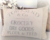 Pillow Cover, Advertisement, Grocery Sign, Farmhouse, Vintage Style, Country,  Ticking, Stripe