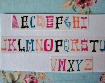 Washi Tape Samples-Colorful Fonts Alphabet